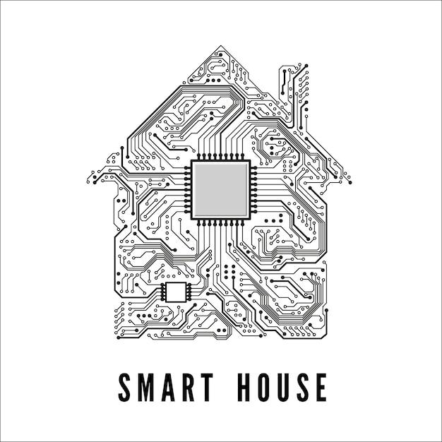Smart house-konzept zuhause von schienen und cpu Premium Vektoren