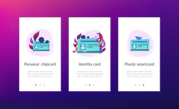 Smart id card app schnittstellenvorlage. Premium Vektoren
