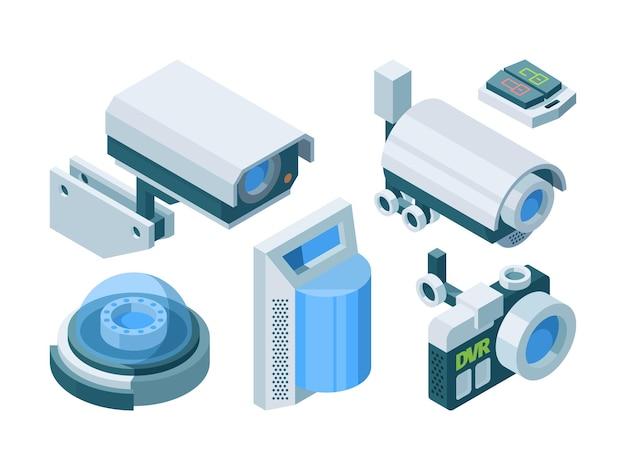 Smart isometrieset der überwachungskamera. elektronische moderne sicherheit home office switch lock street dome kameras ptz, automatisierte überwachung smart protection-technologie. Premium Vektoren