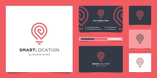Smart tech location logo mit strichzeichnungen. kreative technologie, elektronik, digital, pin, logo und visitenkarte Premium Vektoren