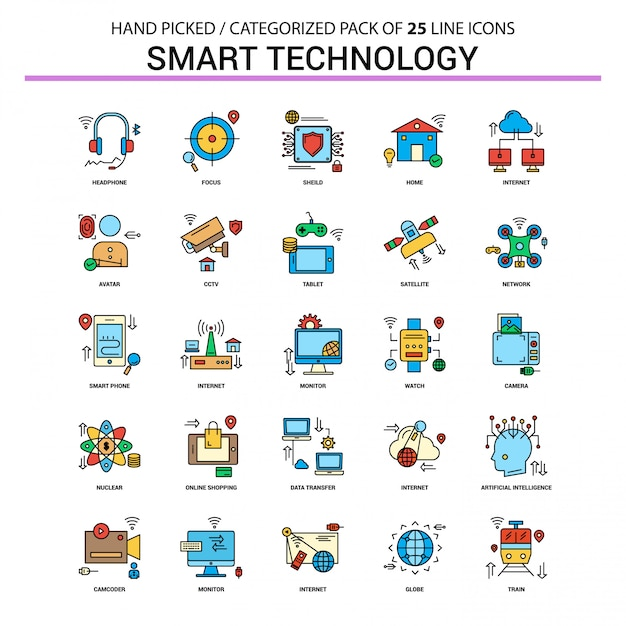 Smart technology flat line icon set Premium Vektoren