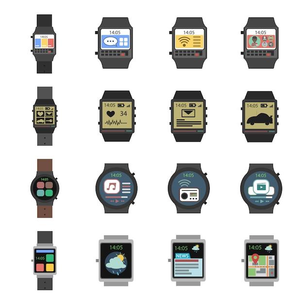 Smart watch-symbol flach Kostenlosen Vektoren
