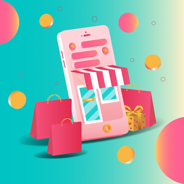 Smartphone 3d online-shopping von marketing und digitalem marketing. mobile anwendungen und website-konzepte. vektorillustration Premium Vektoren