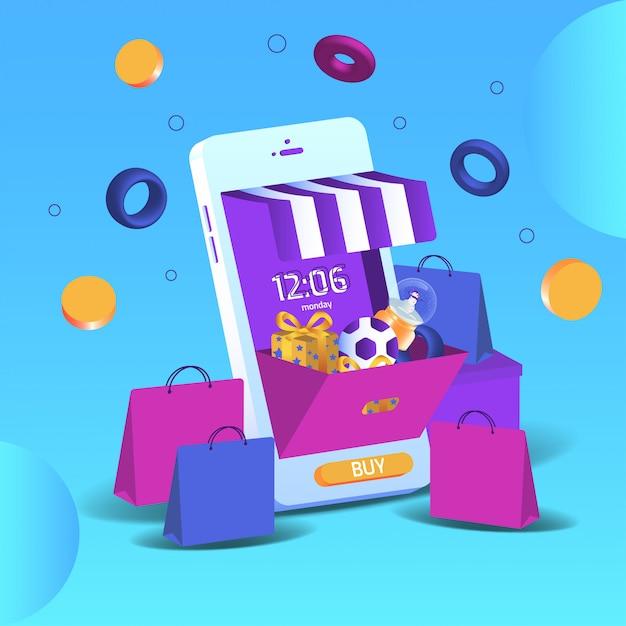 Smartphone 3d online-shopping von marketing und digitalem marketing. mobile anwendungen und website-konzepte. vektorillustration Premium Vektoren