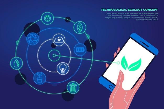 Smartphone-app für ökologiekonzept Kostenlosen Vektoren