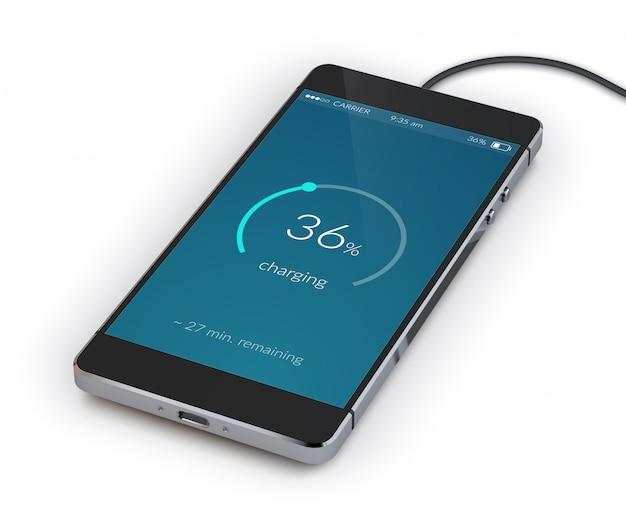 Smartphone-aufladung realistisch Kostenlosen Vektoren