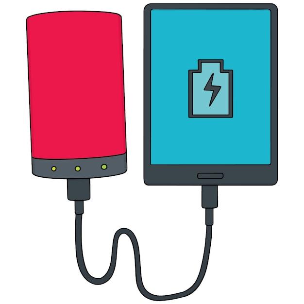 Smartphone-aufladung über powerbank Premium Vektoren