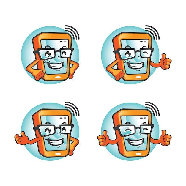 Smartphone-cartoon-zeichensatz Premium Vektoren