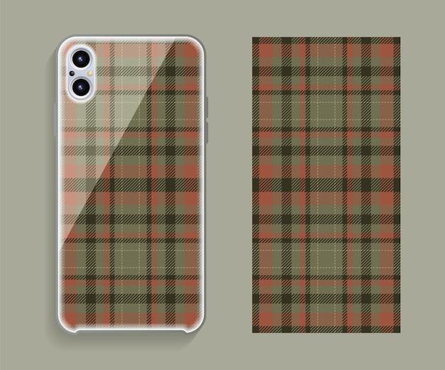Smartphone-cover-design-modell. geometrisches muster der vorlage für den hinteren teil des mobiltelefons. flaches design. Premium Vektoren