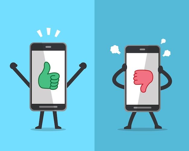 Smartphone, das verschiedene gefühle mit handikonen ausdrückt Premium Vektoren