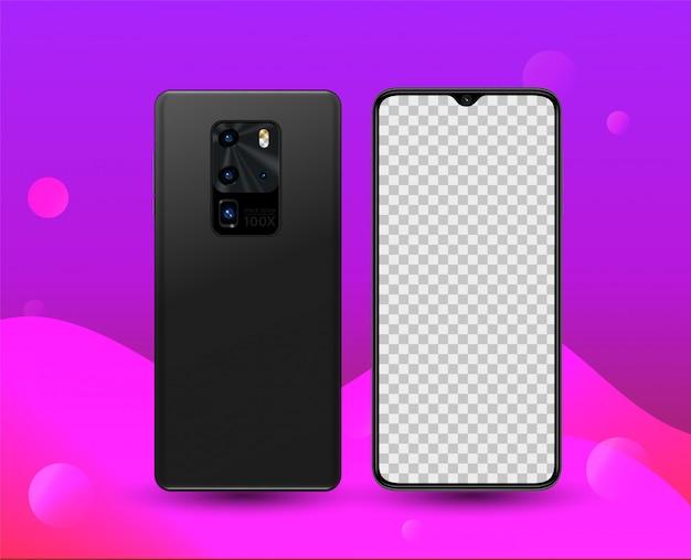 Smartphone fünf kamera vorne hinten illustration für technologie-werbung Premium Vektoren