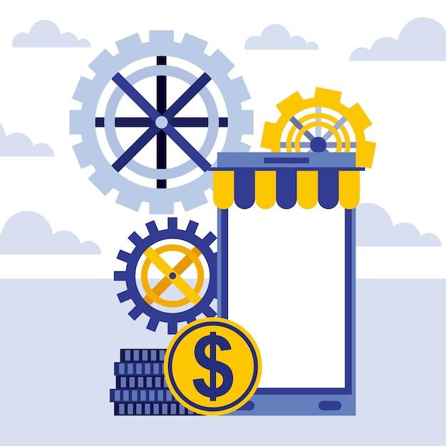 Smartphone getriebe münzen geld online-geschäft Premium Vektoren