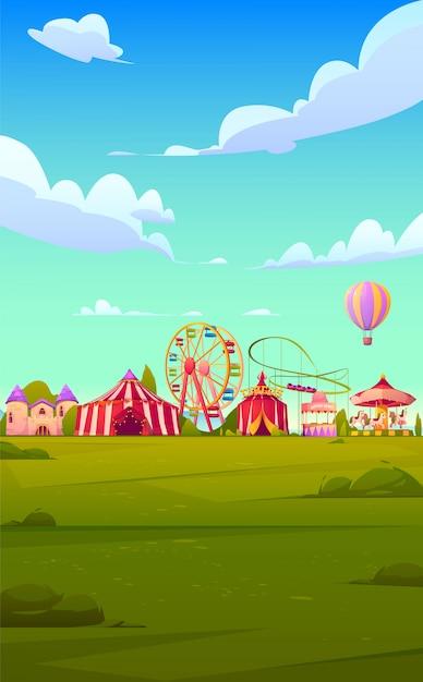 smartphonehintergrundthema mit karnevalsjahrmarkt