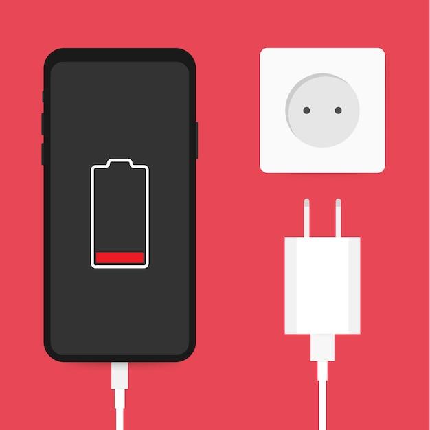 Smartphone-ladeadapter und steckdose, benachrichtigung bei niedrigem batteriestand. vektor-illustration auf lager. Premium Vektoren