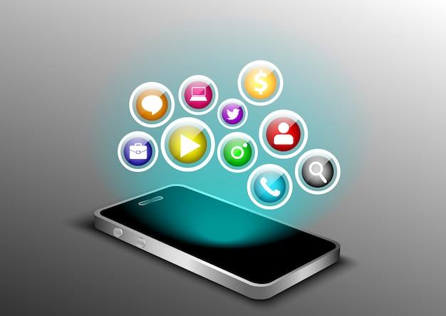 Smartphone leere perspektive 3d-perspektive Premium Vektoren