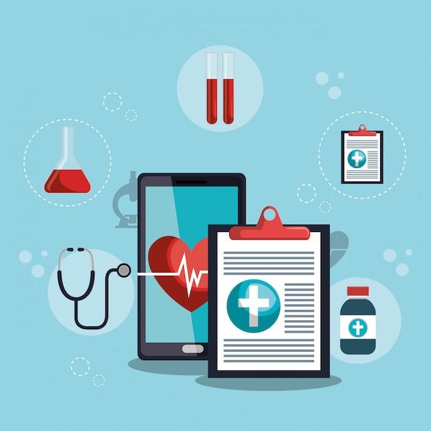 Smartphone mit app für medizinische dienste Kostenlosen Vektoren