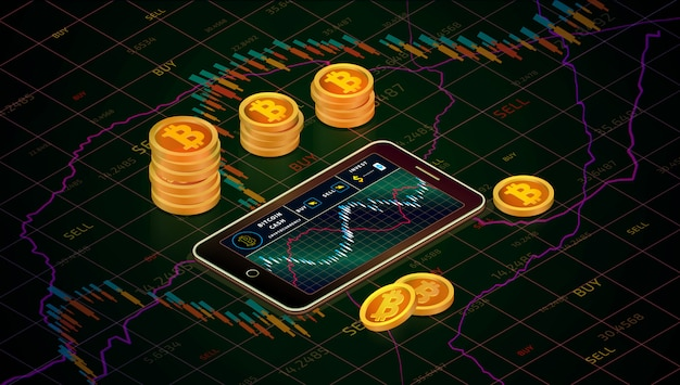 Smartphone mit bitcoin-bargelddiagramm, isometrisches konzept der gold-bitcoin-bargeldmünzen. geschäft g Premium Vektoren