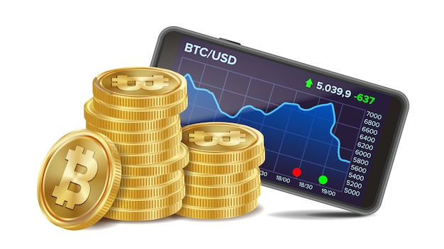 Smartphone mit bitcoin-handelsdiagramm Premium Vektoren