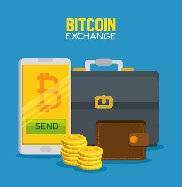 Smartphone mit bitcoin-währung und aktentasche mit geldbörse Kostenlosen Vektoren