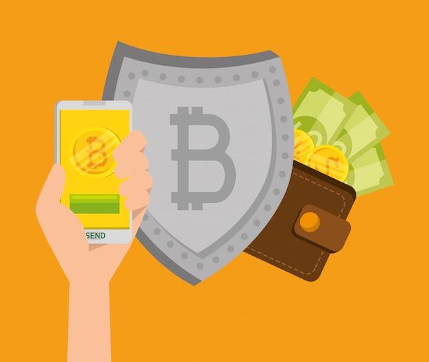 Smartphone mit bitcoin-währung und schild mit rechnungen Kostenlosen Vektoren