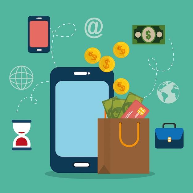 Smartphone mit e-commerce-symbolen Kostenlosen Vektoren