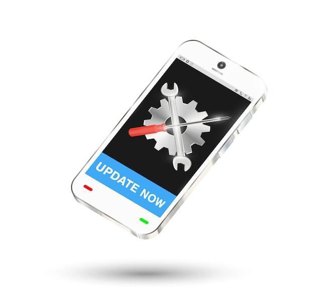 Smartphone mit einstellung logo auf dem bildschirm und reparatur-taste Premium Vektoren
