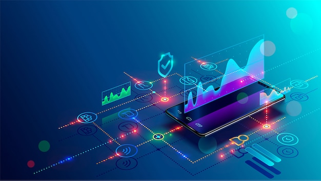 Smartphone mit geschäftsdiagramm und analysedaten am isometrischen handy Premium Vektoren