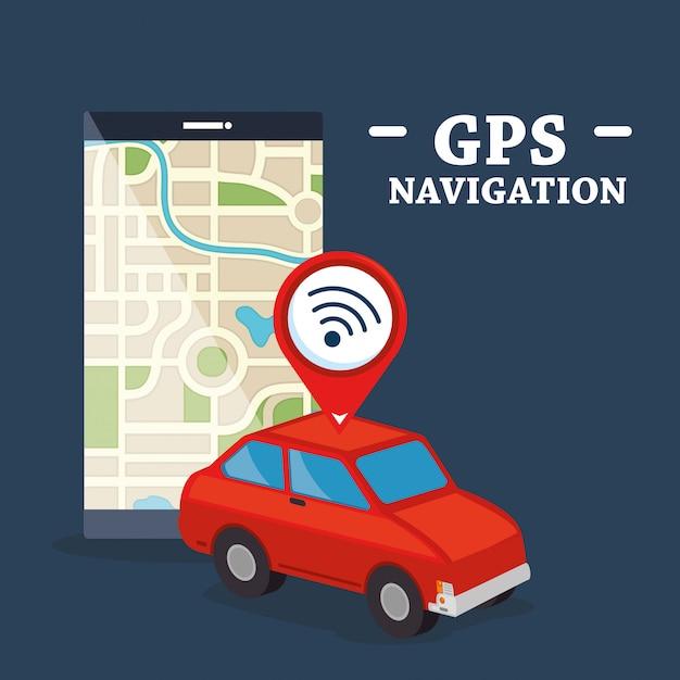 Smartphone mit gps-navigations-app Kostenlosen Vektoren