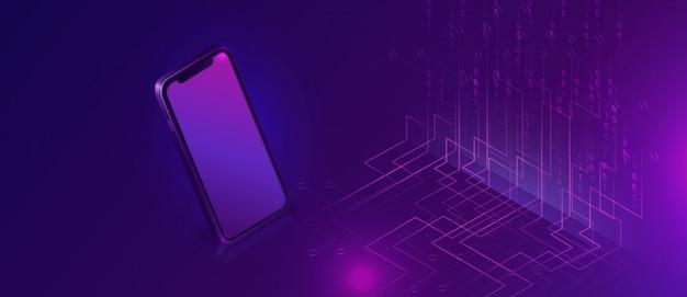 Smartphone mit isometrischer fahne des großen datenstroms Kostenlosen Vektoren