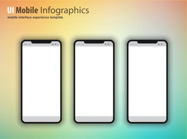 Smartphone mit leerem bildschirm, gerät der nächsten generation Premium Vektoren