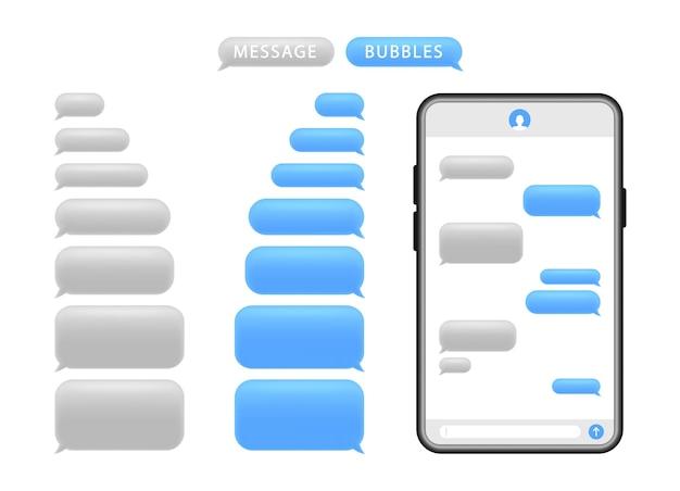 Smartphone mit nachrichtenblasen. sprechblasen für den chat. Premium Vektoren