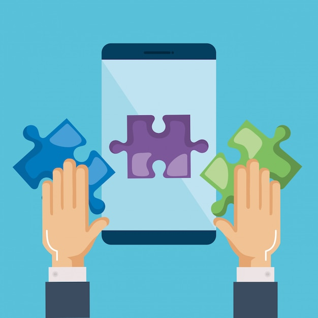 Smartphone mit puzzleteilen und händen Kostenlosen Vektoren
