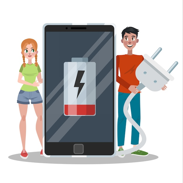 Smartphone mit schwacher batterie. telefon braucht eine gebühr. digitalanzeige anmelden. illustration Premium Vektoren