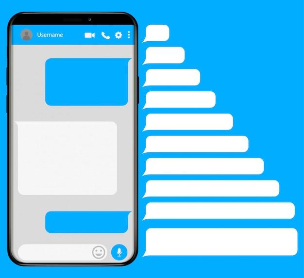 Smartphone mit sms-app Premium Vektoren