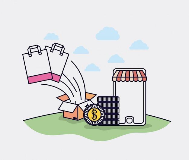 Smartphone mit Sonnenschirm- und E-Commerce-Ikonen vector Illustrationsdesign Premium Vektoren