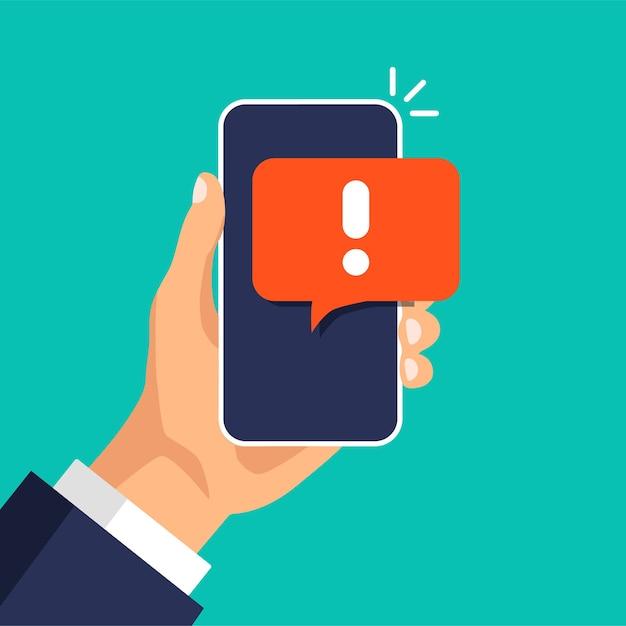 Smartphone mit warnung vor spam, sicherer verbindung, betrug, virus. telefonalarmmeldung, neue nachricht. Premium Vektoren
