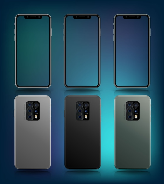 Smartphone mockup perspektive sammlung Premium Vektoren