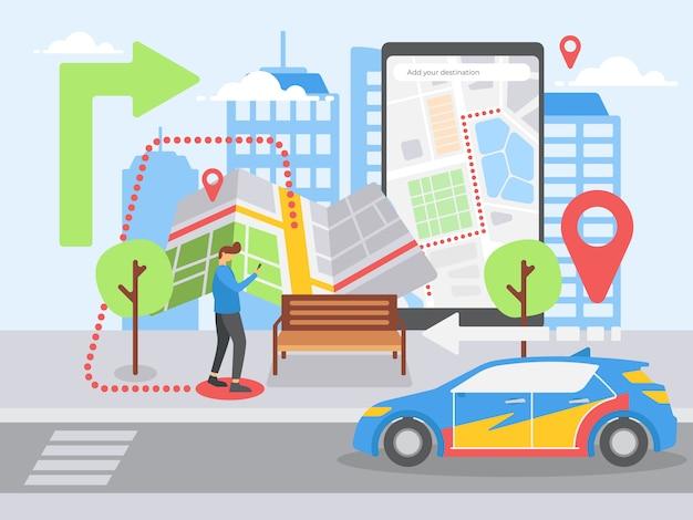 Smartphone-navigation Premium Vektoren