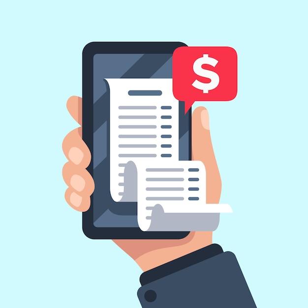 Smartphone-quittungsrechnung, abrechnungsscheck online, abrechnungs- und gehaltsabrechnungsquittungs-mobilbenachrichtigungspauschale Premium Vektoren