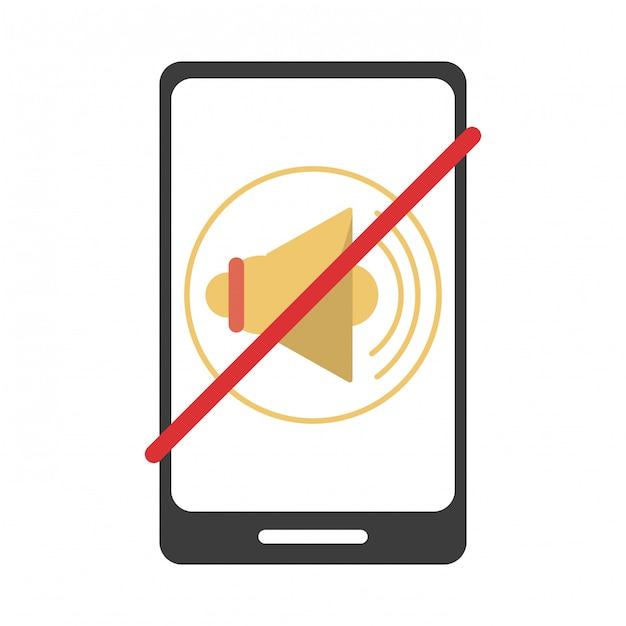 Smartphone-stummschaltung Premium Vektoren