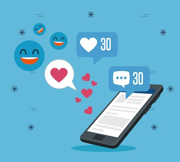 Smartphone-technologie mit sozialer profilnachricht Kostenlosen Vektoren