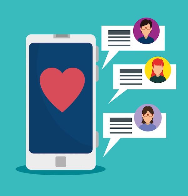 Smartphone-technologie und social-chat-sprechblasen Kostenlosen Vektoren