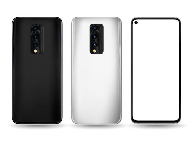 Smartphone vorne hinten illustration für technologie-werbung Premium Vektoren