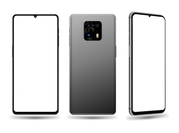 Smartphone vorne hinten und perspektivische illustration für technologie-werbeelement Premium Vektoren