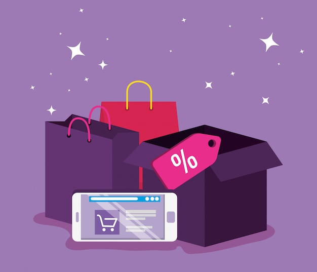 Smartphone-website-markt zum online-shopping Kostenlosen Vektoren