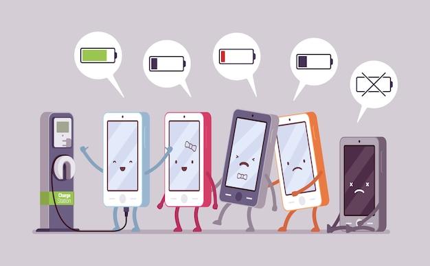 Smartphones werden in der nähe der station aufgeladen Premium Vektoren