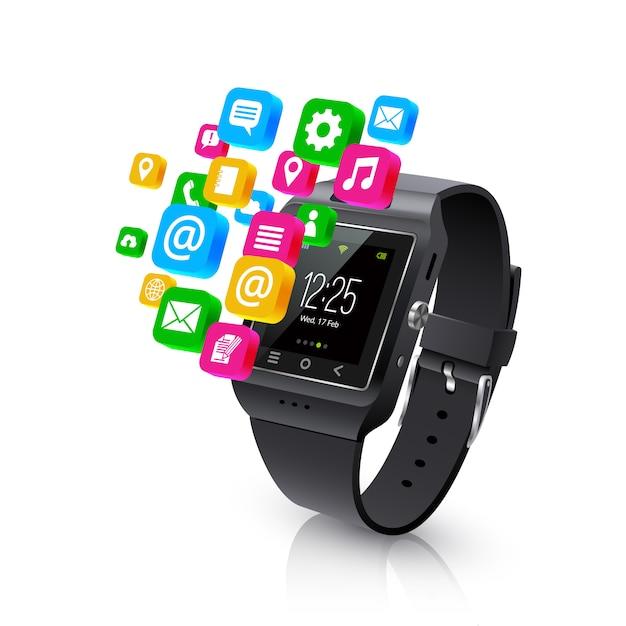 Smartwatch-anwendungsaufgaben-konzeptlustration Kostenlosen Vektoren