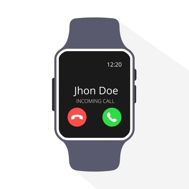 Smartwatch mit dem eingehenden anruf auf dem display Kostenlosen Vektoren