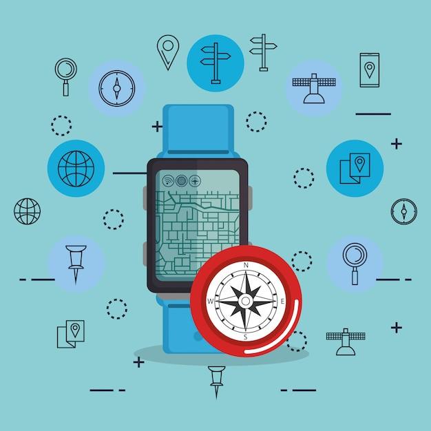 Smartwatch mit gps-navigations-app Kostenlosen Vektoren