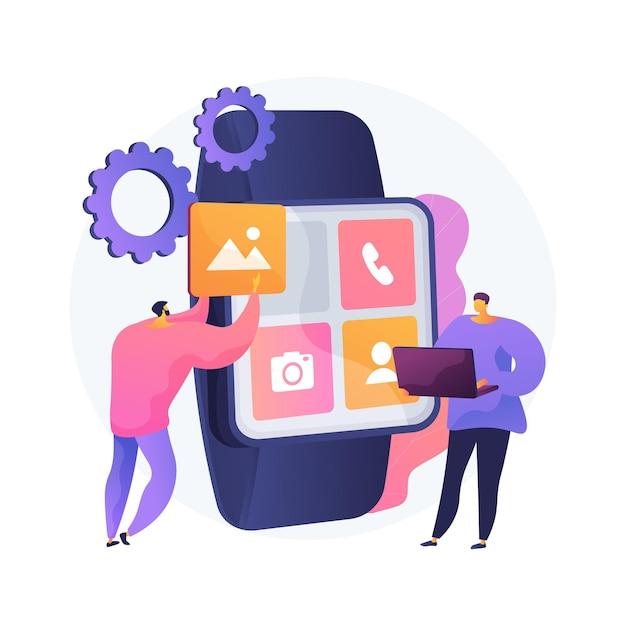 Smartwatches mobile apps entwicklung abstrakte konzeptillustration Kostenlosen Vektoren